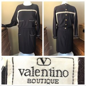 Valentino Boutique Vintage Crepe Wool Dress